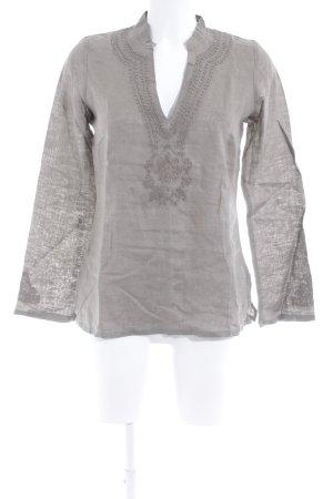 Hallhuber basic Blusa de lino gris verdoso look casual