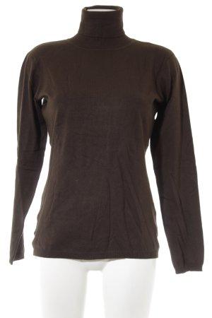 Hallhuber basic Maglione dolcevita marrone scuro-marrone-grigio stile casual