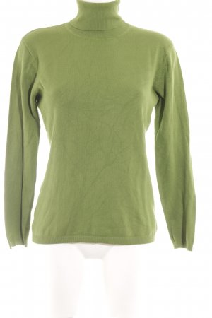 Hallhuber basic Pull-over à col roulé vert gazon style simple