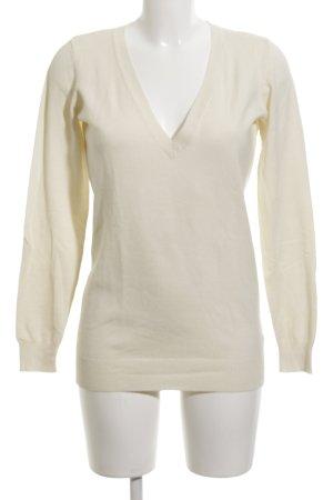 Hallhuber basic V-Ausschnitt-Pullover creme Casual-Look