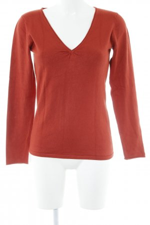Hallhuber basic V-Ausschnitt-Pullover dunkelorange Casual-Look