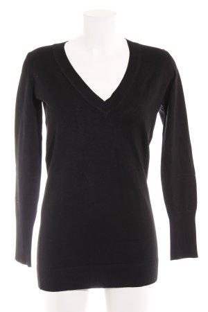 Hallhuber basic V-Ausschnitt-Pullover schwarz Casual-Look