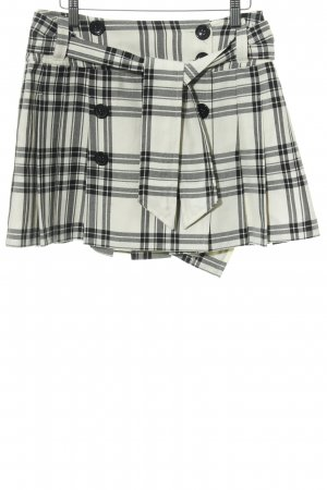 Hallhuber basic Wraparound Skirt black-oatmeal check pattern casual look
