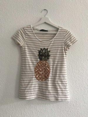Hallhuber Baumwoll T-shirt mit Ananas-Pailettenverzierung