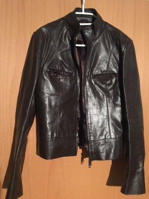 Hallhuber Leather Jacket dark brown leather