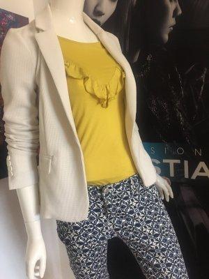 Hallhuber Blazer Jacke Offwhite grafisches Print Design Hose skinny  34/36