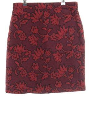 Hallhuber Bleistiftrock rot-braun Blumenmuster Casual-Look