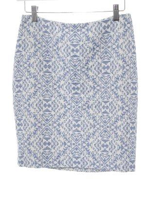 Hallhuber Bleistiftrock weiß-blau grafisches Muster Business-Look