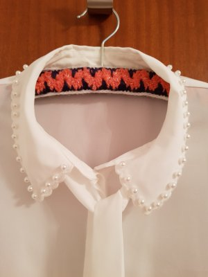 Hallhuber Blusa collo a cravatta bianco-bianco sporco