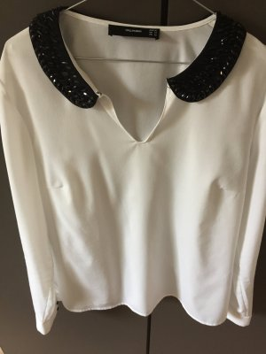 Hallhuber Bluse ( Creme/weiß) mit Bubikragen schwarz