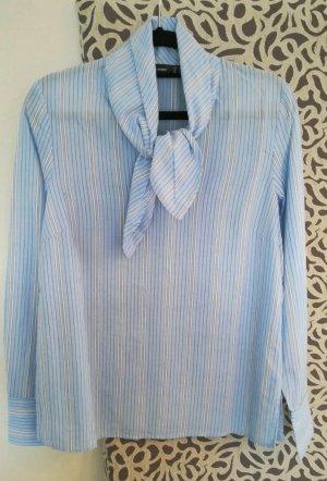 Hallhuber Blusa con lazo blanco-azul celeste
