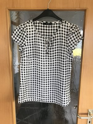 Hallhuber Bluse Gr 34 weiß  schwarz grau Karomuster