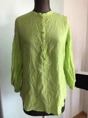Hallhuber Bluse Hemd Seide-Baumwolle Gr 36 S lindgrün
