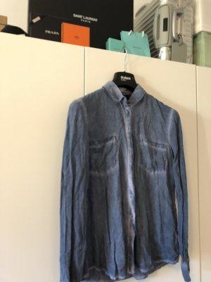 Hallhuber Bluse im Batik Jeanshemd Look