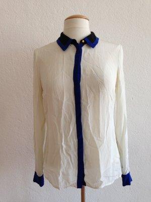 Hallhuber Bluse, Langarmbluse, Seidenbluse, 100% Seide, weiß blau, Gr.38