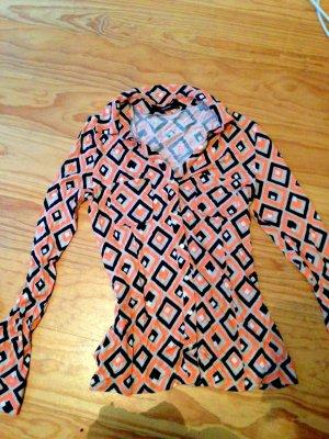 Hallhuber Bluse Oberteil Größe 38 Orange Schwarz weiß Karo Muster