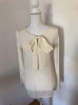Hallhuber Blusa collo a cravatta bianco sporco-crema