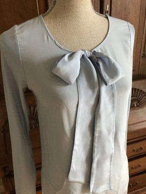 Hallhuber Bluse Schluppenbluse Shirt Seide Schleife Hellblau
