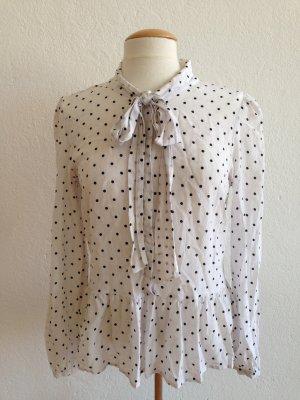 Hallhuber Bluse Schluppenbluse - weiß schwarze Punkte - Gr.38