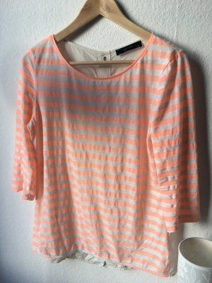 Hallhuber Bluse / Shirt - gestreift in korall Wollweiss