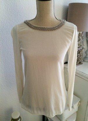 Hallhuber Bluse Tunika Seide Perlen Weiß Gr. 36 S