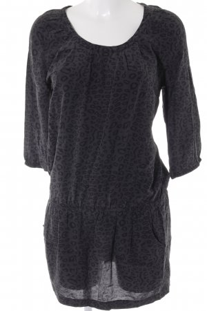 Hallhuber Blusenkleid grau-schwarz Leomuster Animal-Look