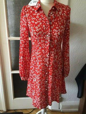 Hallhuber Blusenkleid mit Streublumen in Rot