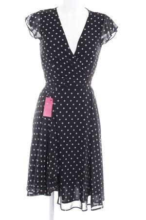 Hallhuber Blusenkleid schwarz-hellbeige Punktemuster 80ies-Stil
