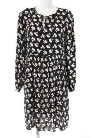 Hallhuber Blusenkleid schwarz-wollweiß Blumenmuster