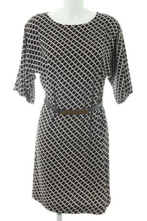 Hallhuber Blusenkleid schwarz-wollweiß grafisches Muster Elegant