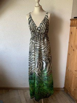 Hallhuber bodenlanges Seidenkleid im extravaganten Dschungellook Gr. 36/38