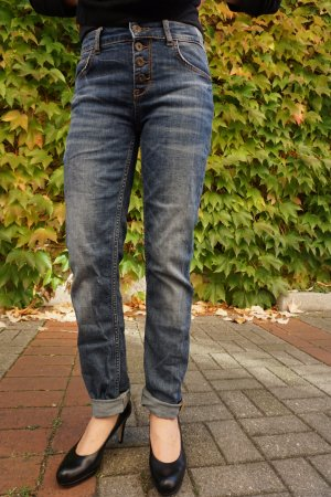 Hallhuber Boyfriend Jeans blue-dark blue cotton