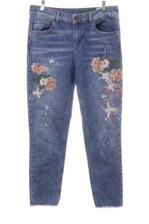 Hallhuber Jeans boyfriend bleuet motif abstrait style décontracté