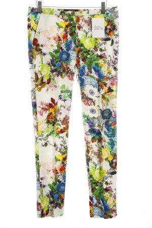 Hallhuber Bundfaltenhose florales Muster klassischer Stil