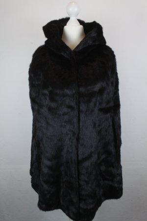 Hallhuber Cape Gr. 34 schwarz Faux Fur mit Kapuze