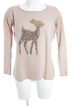 Hallhuber Cashmerepullover rosé Animalmuster Romantik-Look