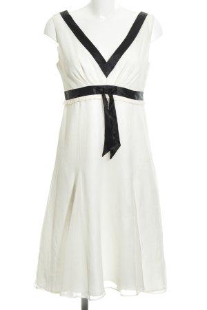 Hallhuber Chiffonkleid weiß-schwarz schlichter Stil