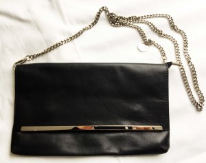 Hallhuber Clutch black-silver-colored leather
