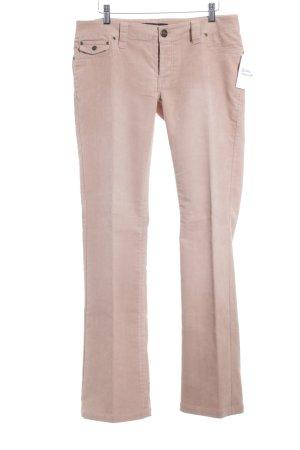 Hallhuber Pantalon en velours côtelé vieux rose style décontracté