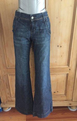 Hallhuber Dark Denim - Jeans mit weitem Bein - Gr. 38 - figurschmeichelnd