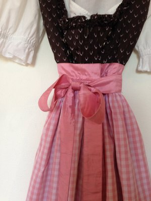 Hallhuber Dirndl, Tracht, Wendeschürze, mit weißer Bluse, braun rosa, Gr.40