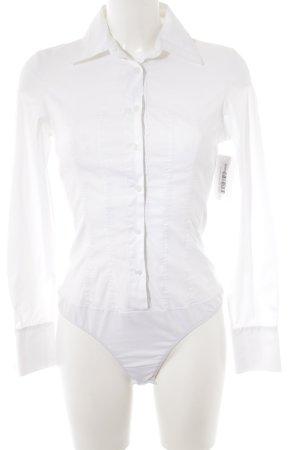 Hallhuber Donna Camicetta body bianco stile professionale