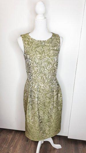 Hallhuber Donna Cocktailkleid 36 + Bolero 34 grün beige Blätter strukturiert Jacquard A-Linie