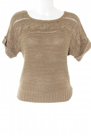 Hallhuber Donna Grobstrickpullover wollweiß-camel Webmuster Casual-Look