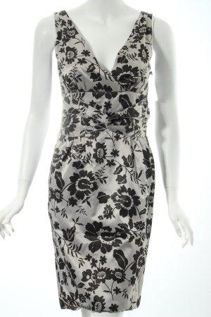 Hallhuber Donna Kleid grau-schwarz florales Muster Party-Look