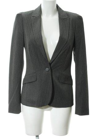 Hallhuber Donna Kurz-Blazer dunkelgrau-wollweiß Nadelstreifen Business-Look