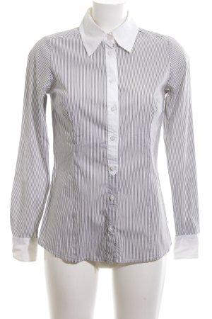 Hallhuber Donna Langarm-Bluse schwarz-weiß Allover-Druck Business-Look