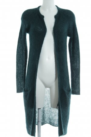 Hallhuber Donna Long Knitted Vest forest green weave pattern casual look
