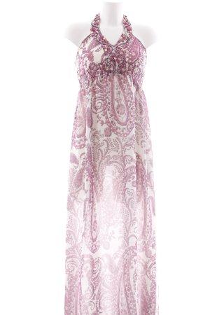 Hallhuber Donna Neckholderkleid neonpink-weiß florales Muster Romantik-Look