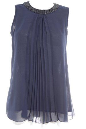 Hallhuber Donna Top a balze blu scuro stile romantico